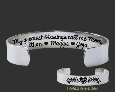 My Greatest Blessings Personalized Mom Bracelet