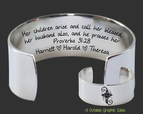 Her Children Arise Personalized Bracelet | Proverbs 31:28 | Mother's Day