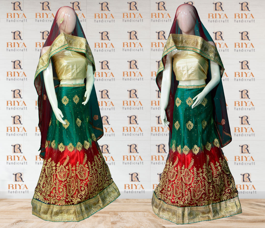 Indian Style Floral Embroidery Lehenga