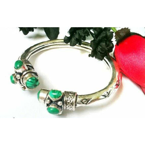 MALACHITE Green Bangle Bracelet, Silver Bangle ,Adjustable, Mens bracelet, Vintage, womens bracelet Riyahandicraft