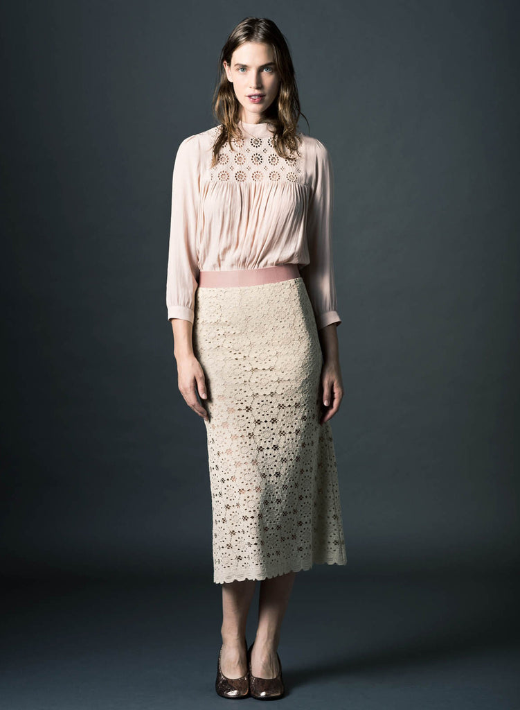 Smythe Fit and Flare Lace Skirt