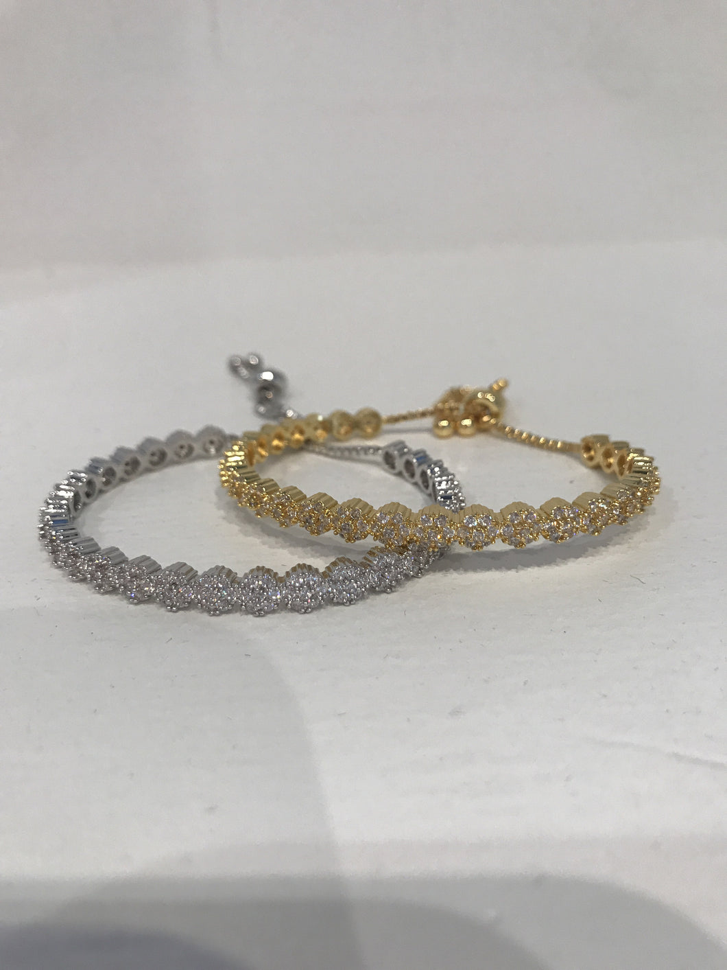 CZ  bangle brackets white and yellow