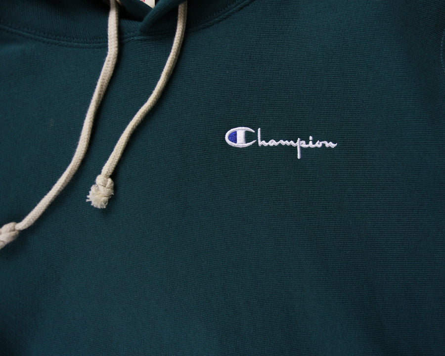 Champion Reverse Weave Small Script Hoodie (Jeweled Jade) - Large