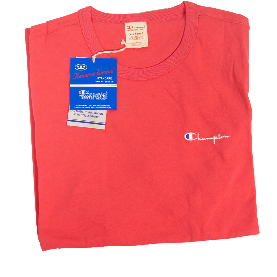 Champion Reverse Weave Script Crewneck Tee - Pretty Coral - Medium