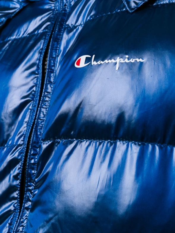 Champion Hooded Logo Puffer Jacket - Large