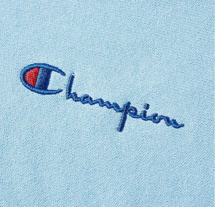 Champion Reverse Weave Small Script Hoodie (Ocean Front Blue) - Medium