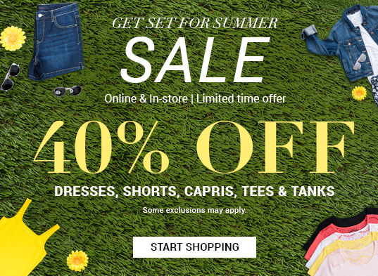 40 % off dresses, shorts, capris, tees & tanks | Shop now