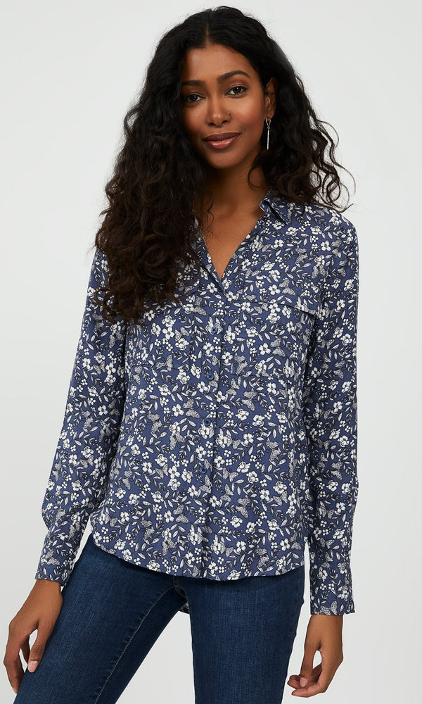 Floral Button-Down Blouse