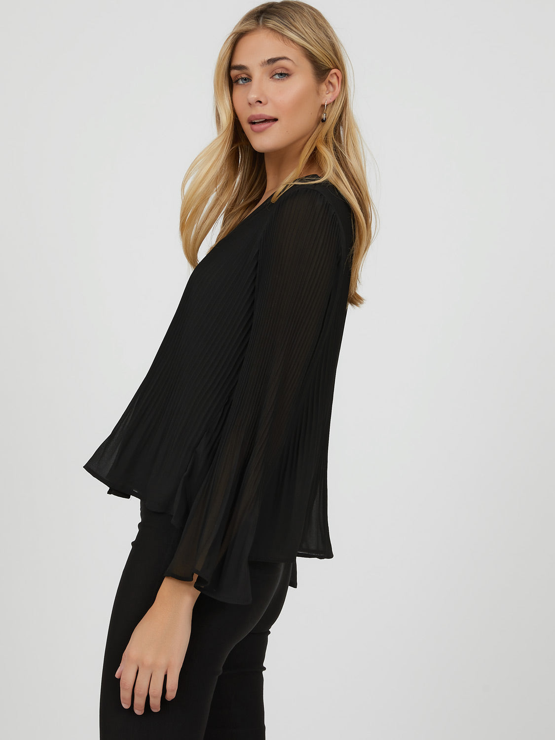 Bell Sleeve Pleated Button-Down Blouse