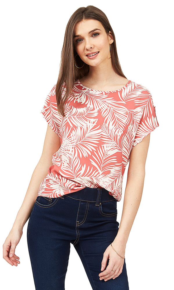 9bfb5c0f95f58a Printed Round Neck Woven Top Printed Round Neck Woven Top