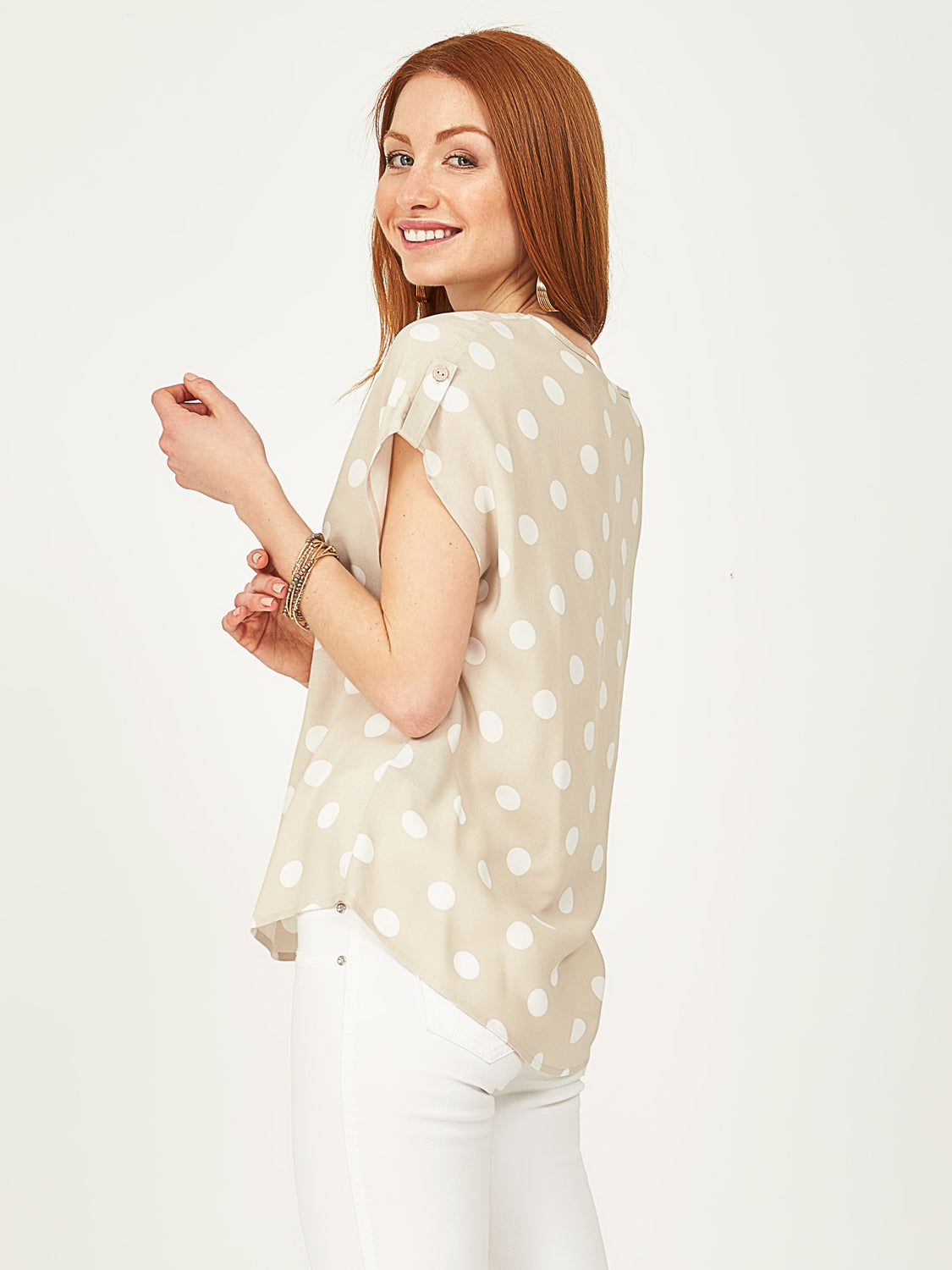 Printed Round Neck Woven Top