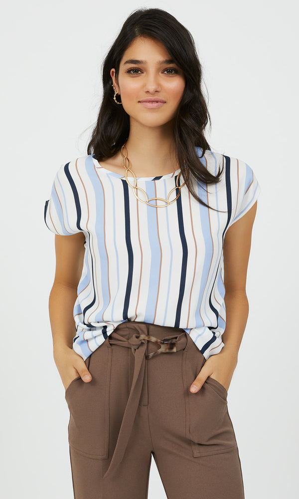 Short Sleeve Striped Chiffon Blouse