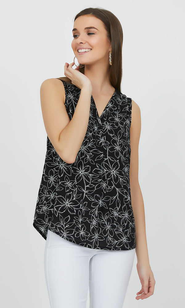 Sleeveless Notch Collar Floral Blouse