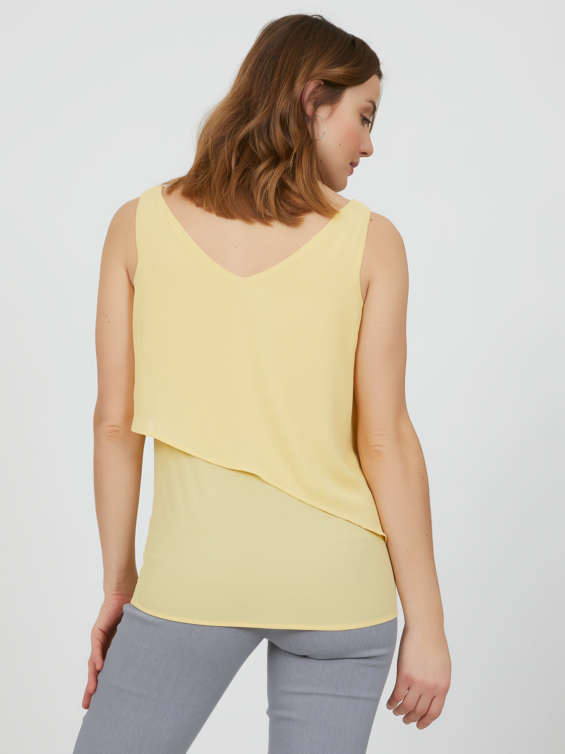 Sleeveless Double Layer V-Neck Top