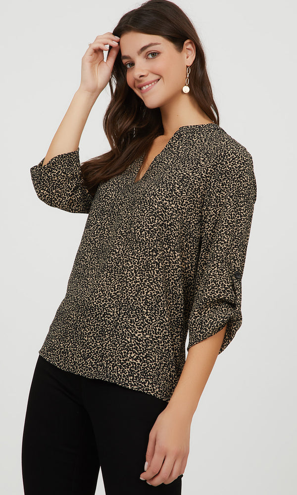 ¾ Roll-Up Sleeve Animal Print Popover Blouse