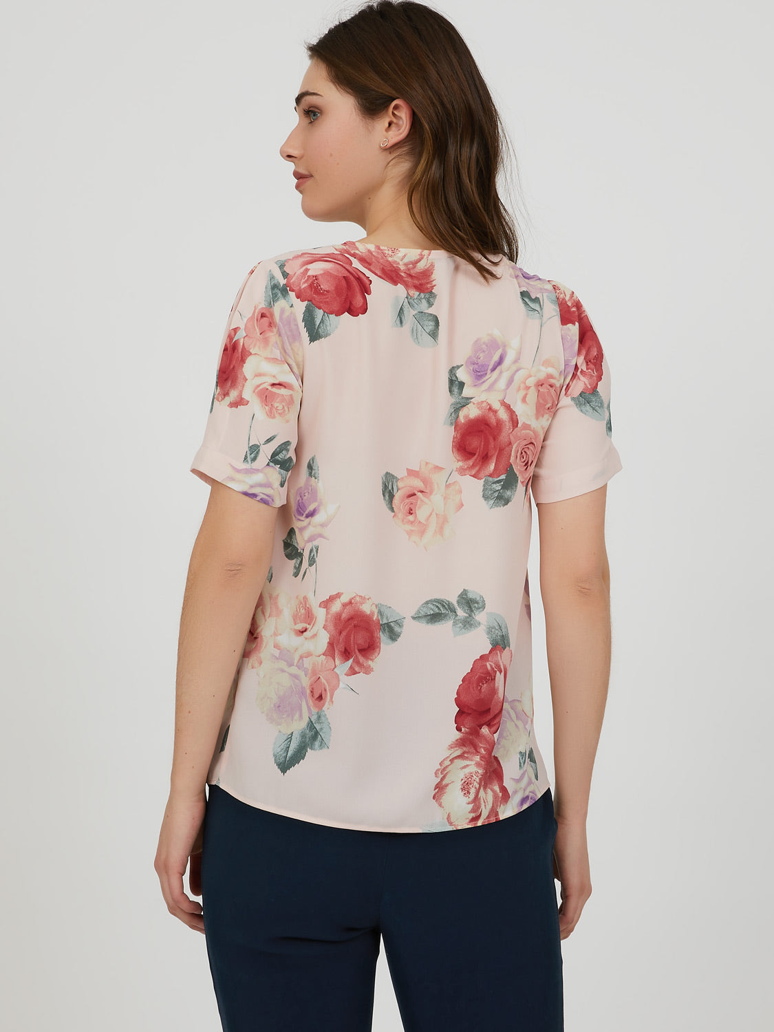Elbow Sleeve Pleated Printed Blouse