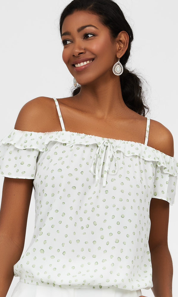 Ruffled Off-The-Shoulder Printed Top