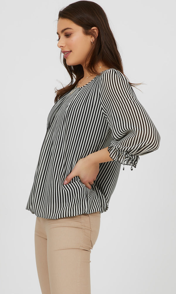¾ Balloon Sleeve Printed Blouse