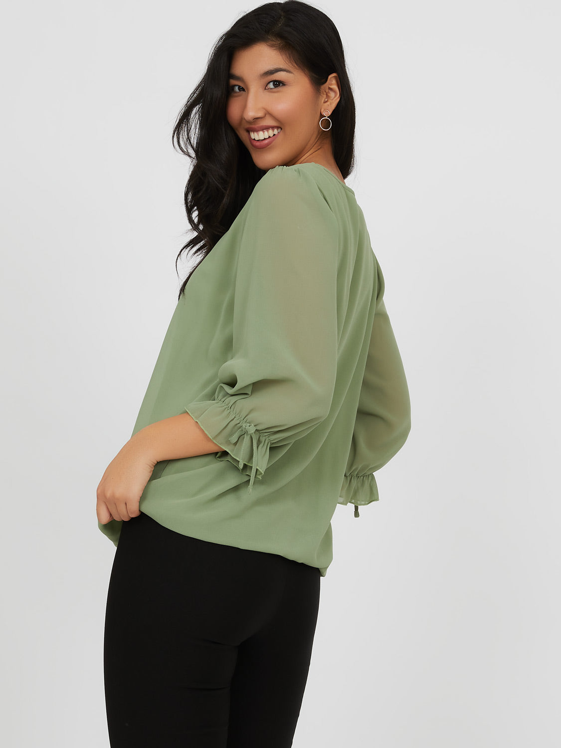 ¾ Balloon Sleeve Blouse