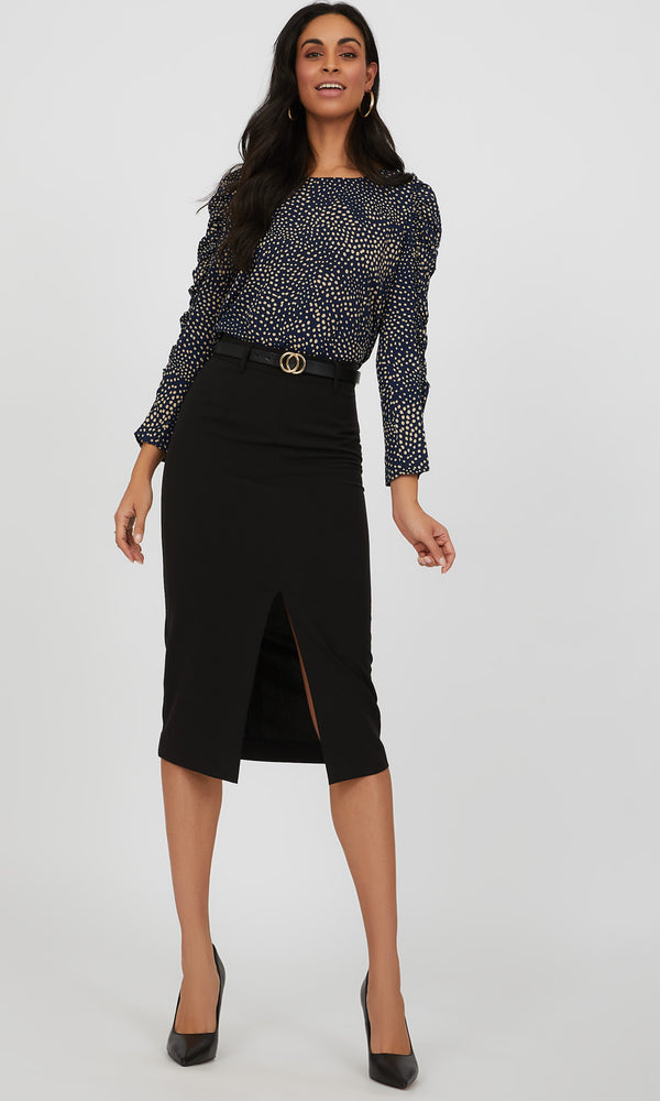 Ruched Sleeve Popover Polka Dot Blouse
