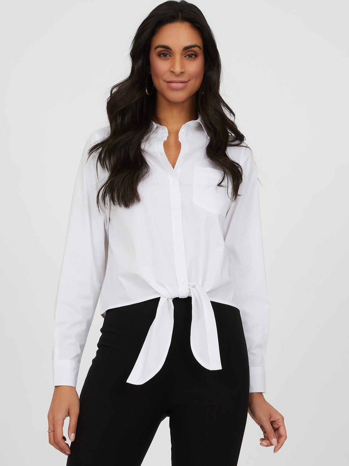 Button-Down Tie Front Blouse