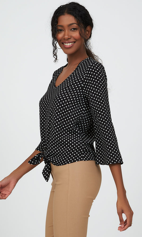 ¾ Sleeve Tie Front Polka Dot Top