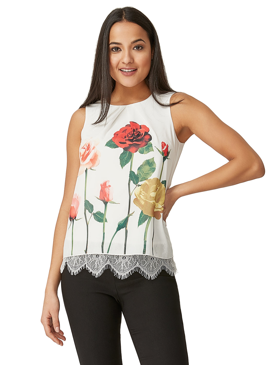 15fb7ae1bbed69 Floral Pleated Sleeveless Top Floral Pleated Sleeveless Top