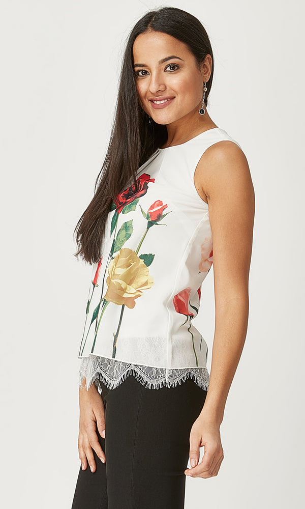 e850420b3f26a Floral Pleated Sleeveless Top ...
