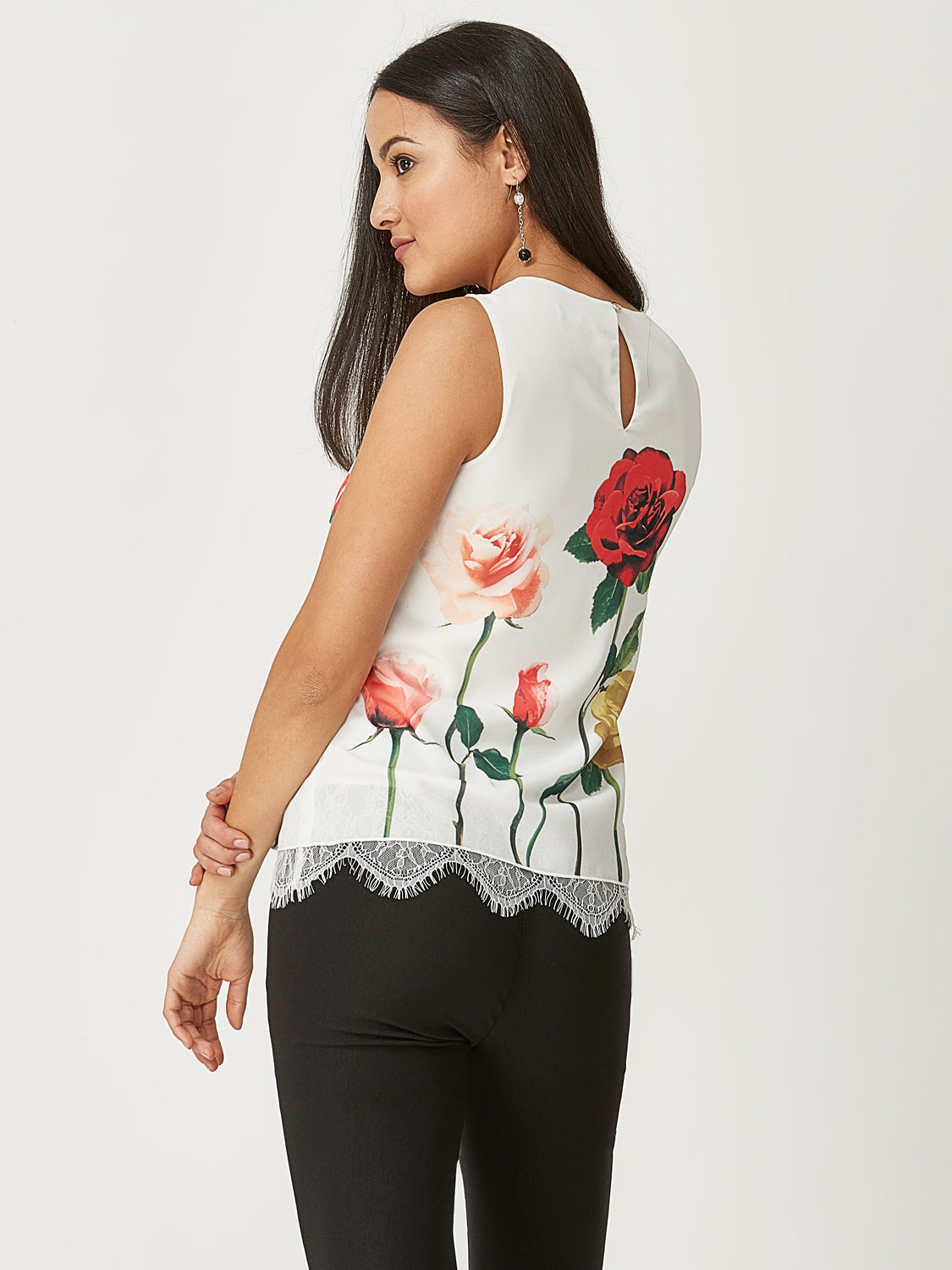 Floral Pleated Sleeveless Top