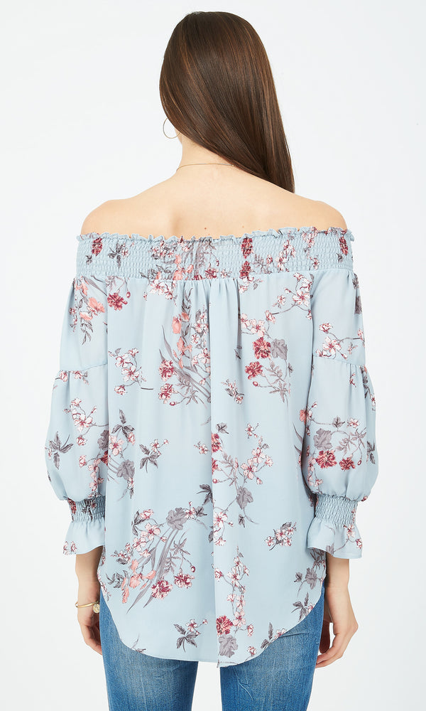 Printed Chiffon Off-The-Shoulder Top