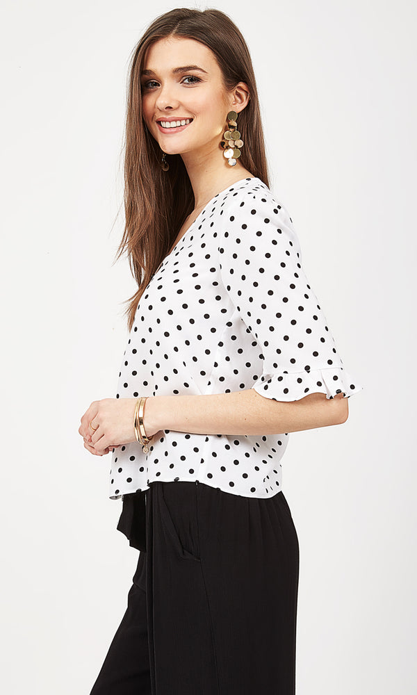 Flared Sleeve Woven Blouse