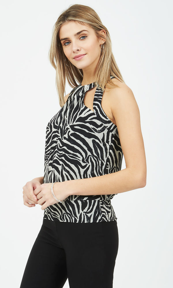 Printed Racer Front & Back Blouse