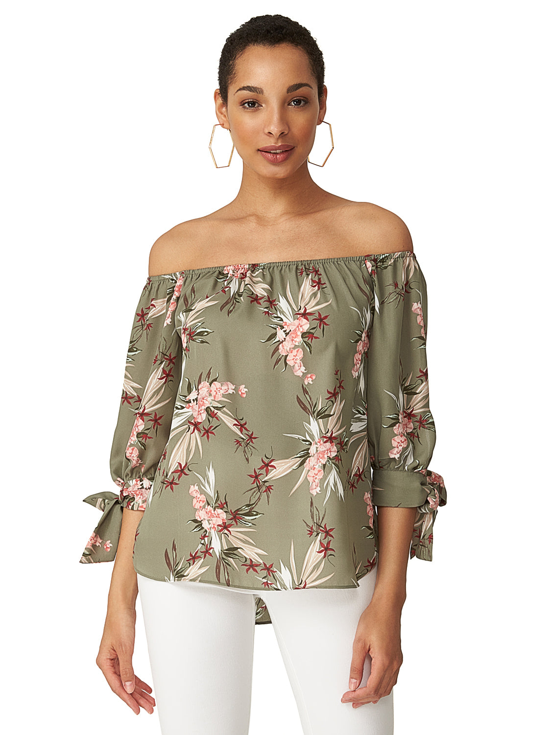 842f29c4d93e5 Off-The-Shoulder Printed Top