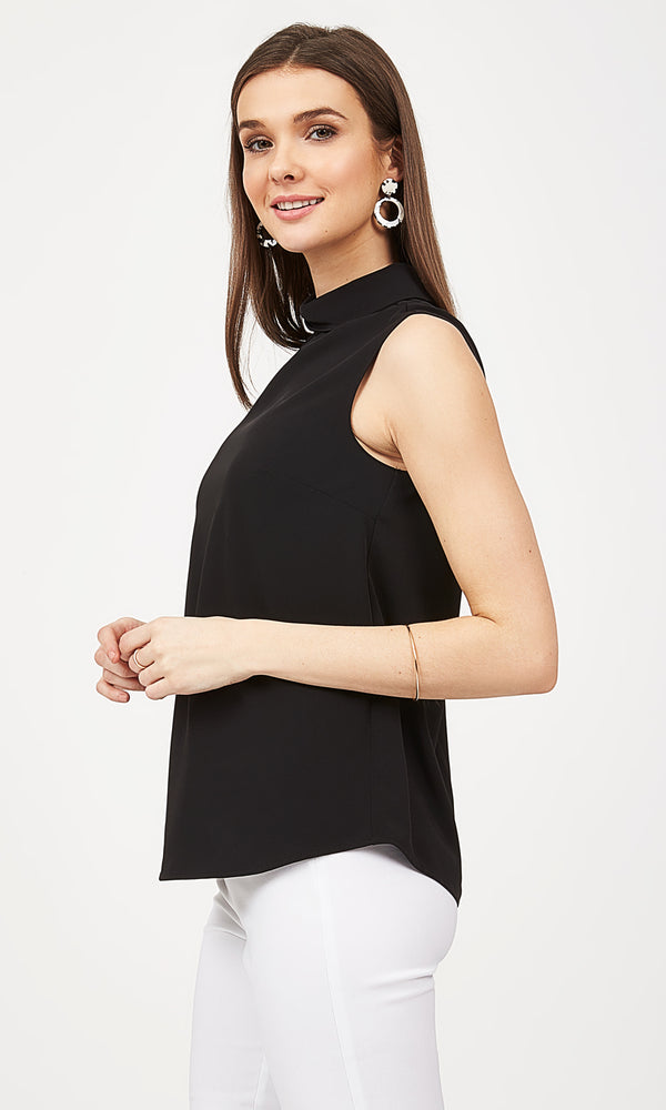 Mock Neck Sleeveless Blouse