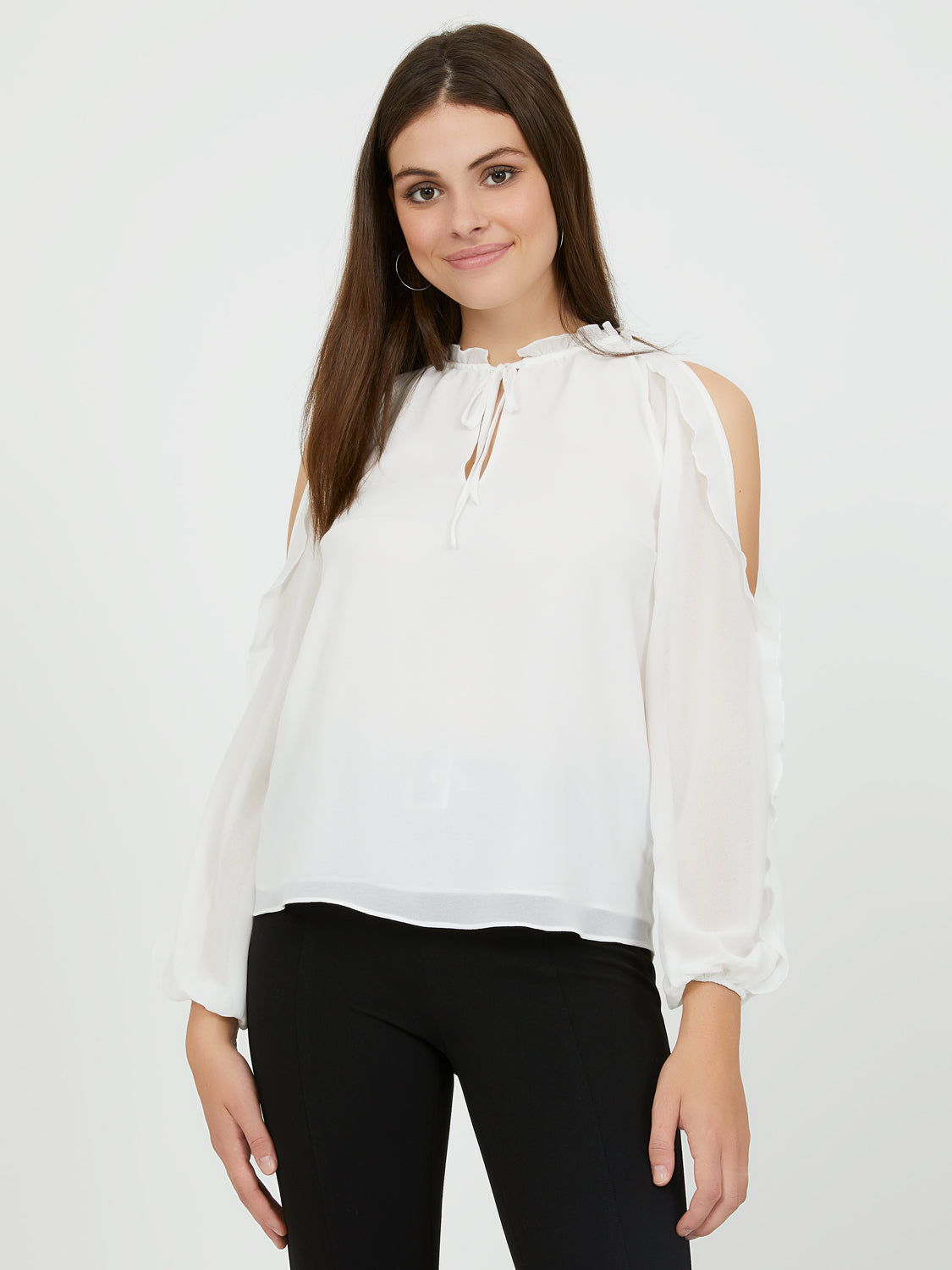 Cold Shoulder Ruffle Chiffon Blouse