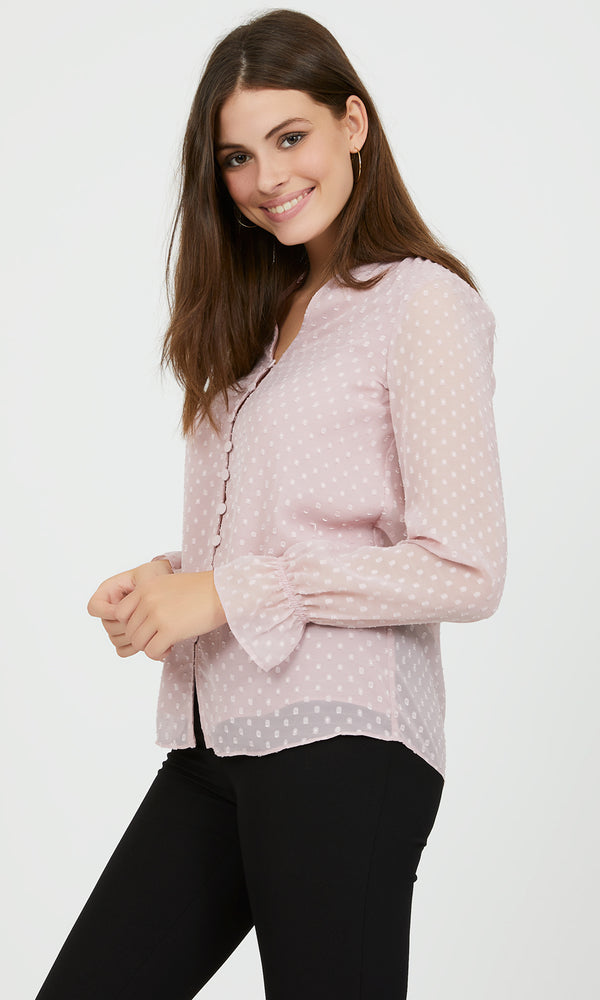 Flared Raglan Sleeve Chiffon Blouse