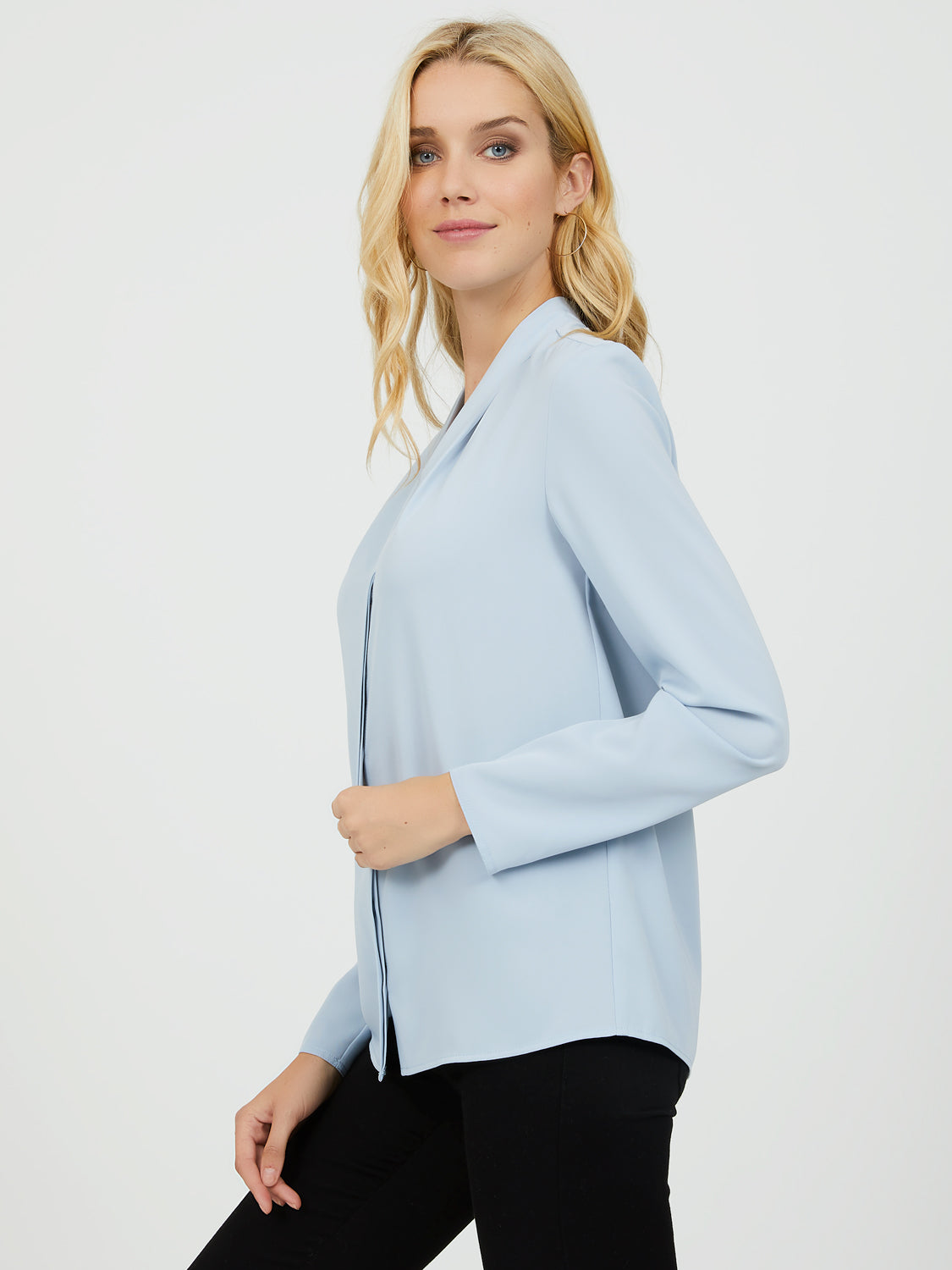 Shawl Collar V-Neck Blouse