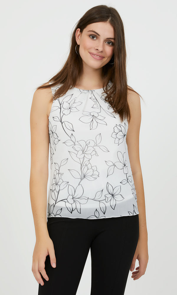 Floral Print Sleeveless Blouse