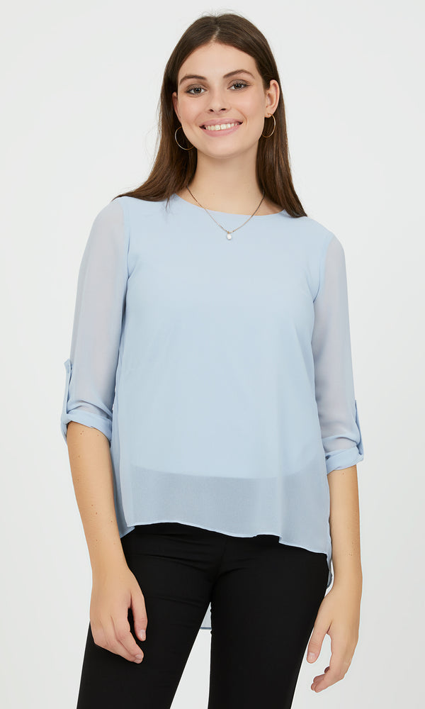 Long Roll-Up Sleeve Blouse