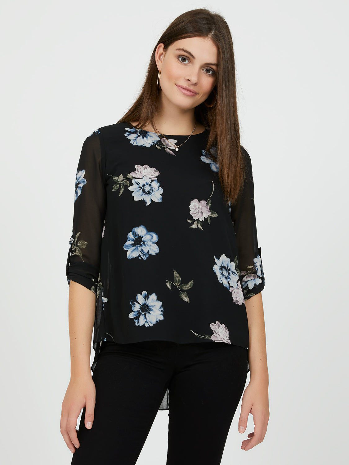 Long Roll-Up Sleeve Floral Blouse