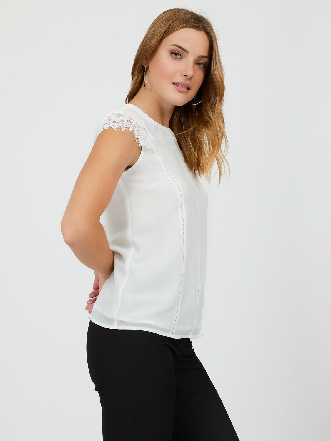 Lattice & Lace Cap Sleeve Blouse
