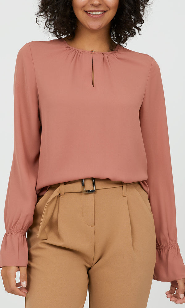 Flared Sleeves Chiffon Blouse