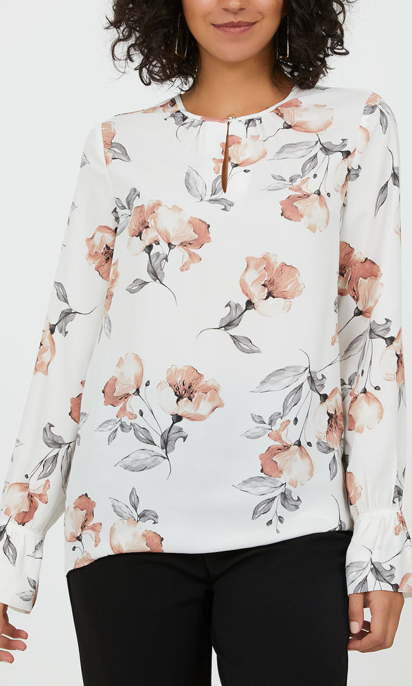 Flared Sleeves Floral Chiffon Blouse