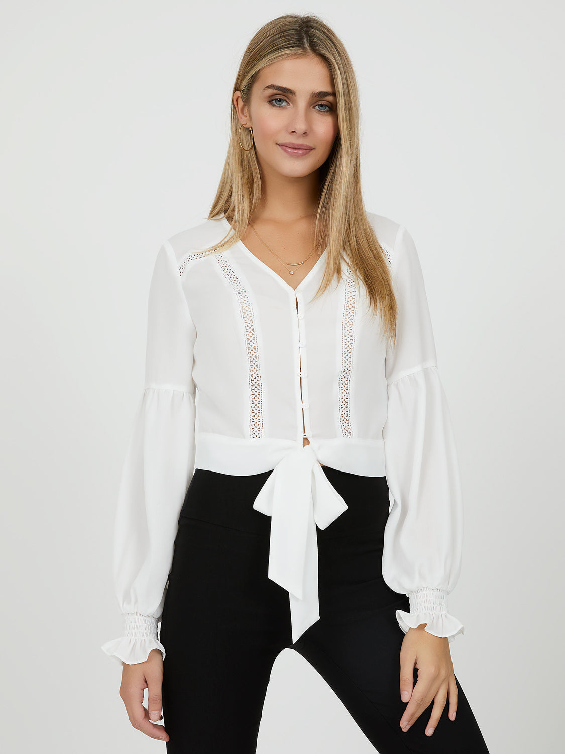 Cropped Chiffon Peasant Blouse