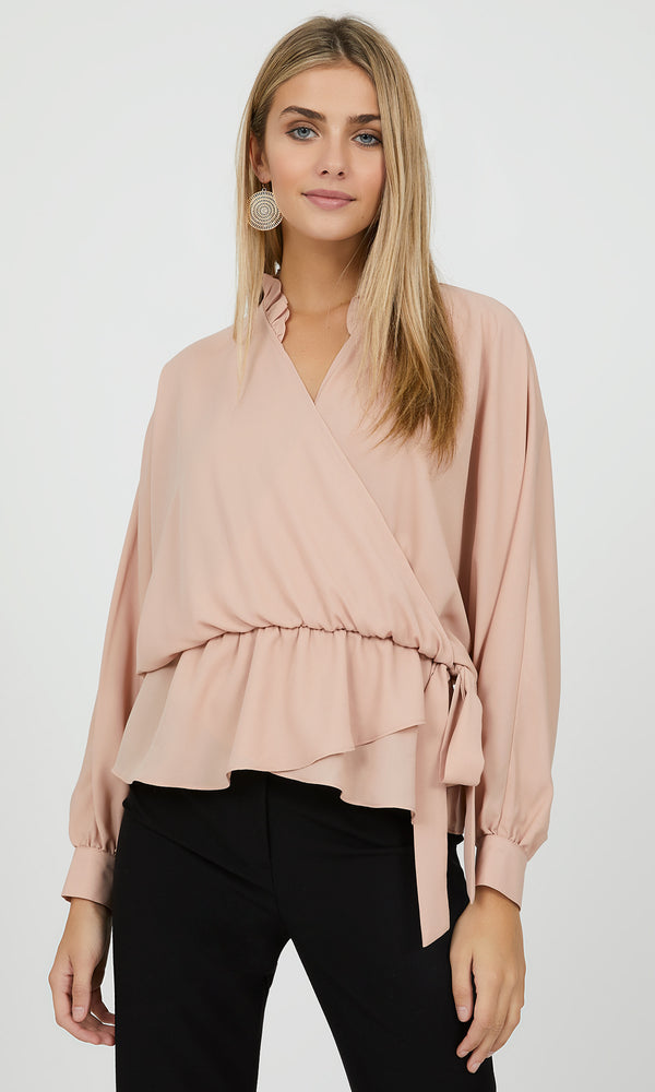 Chiffon Wrap Blouse with Ruffles