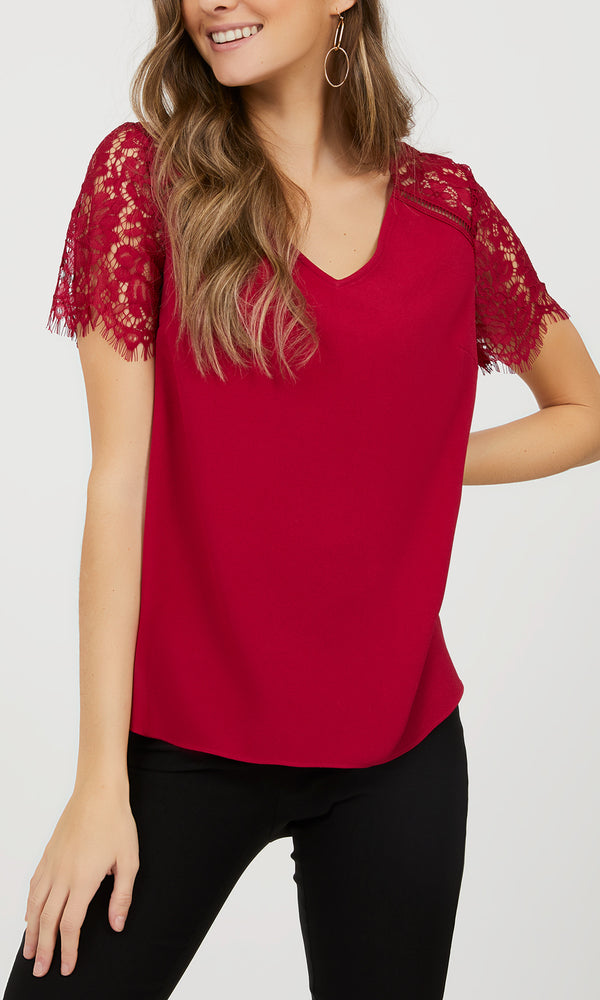 Short Lace Sleeve Crepe Blouse