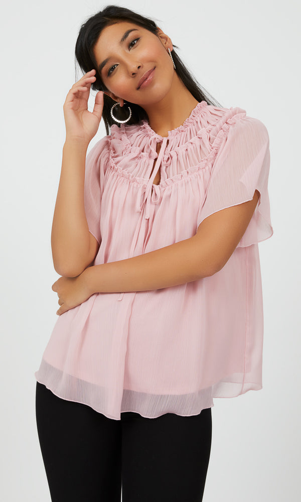 Flare Sleeve Blouse with Frills