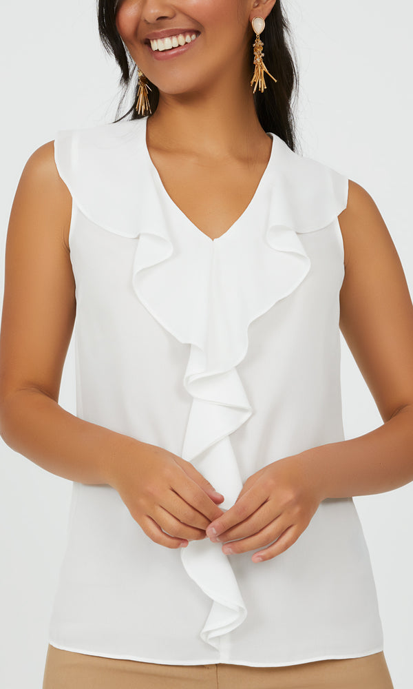 Sleeveless Chiffon Blouse with Ruffles