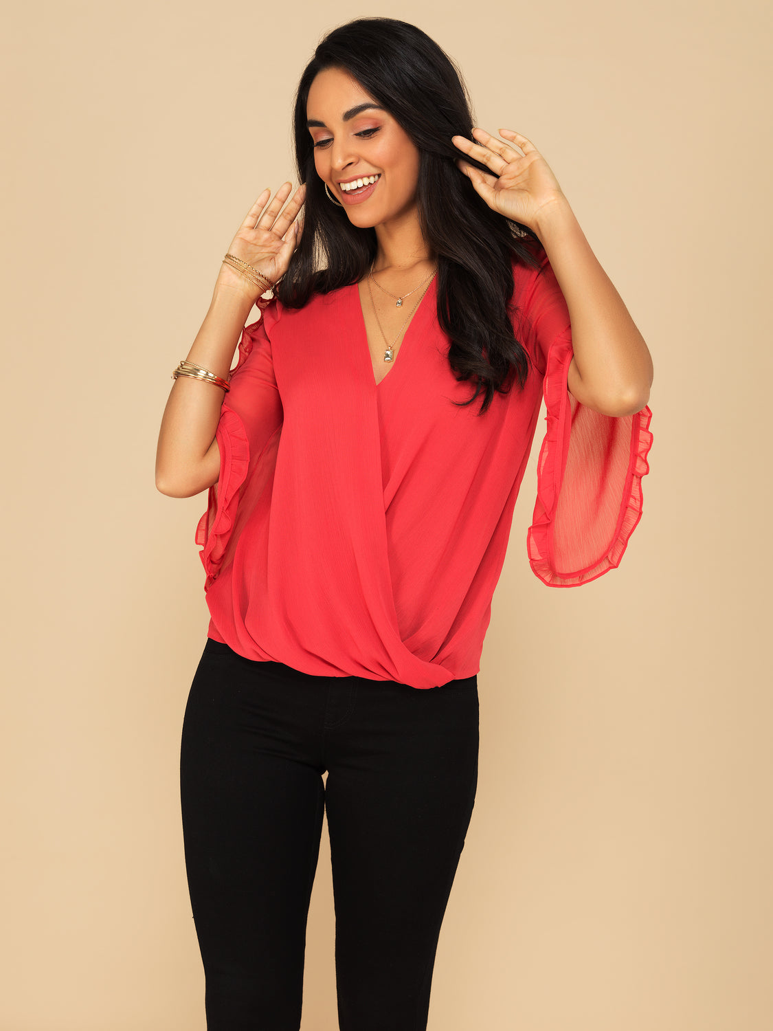 ¾ Ruffled Sleeve Cross Front Blouse