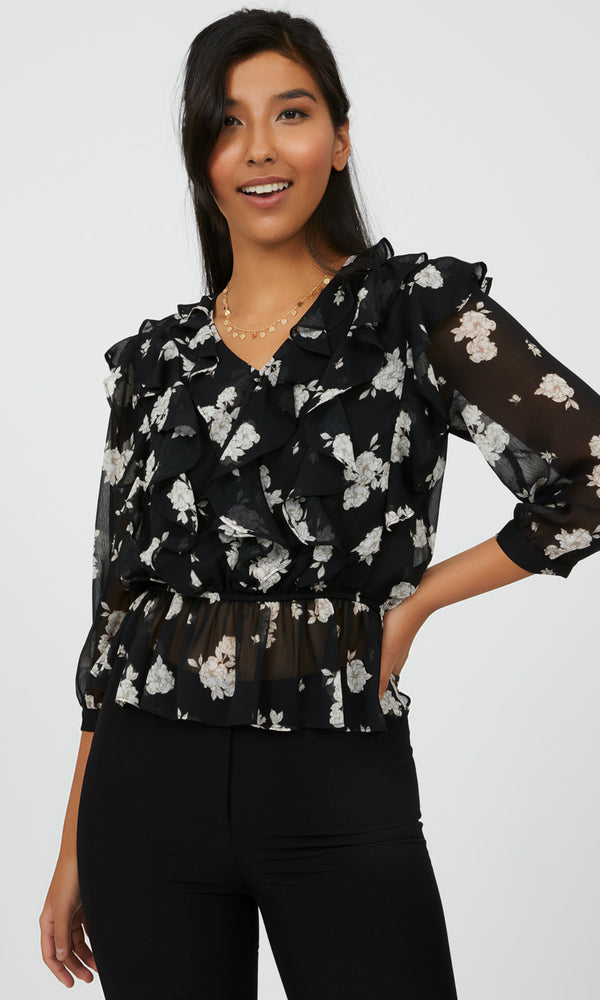 Floral Ruffle Front Peplum Blouse
